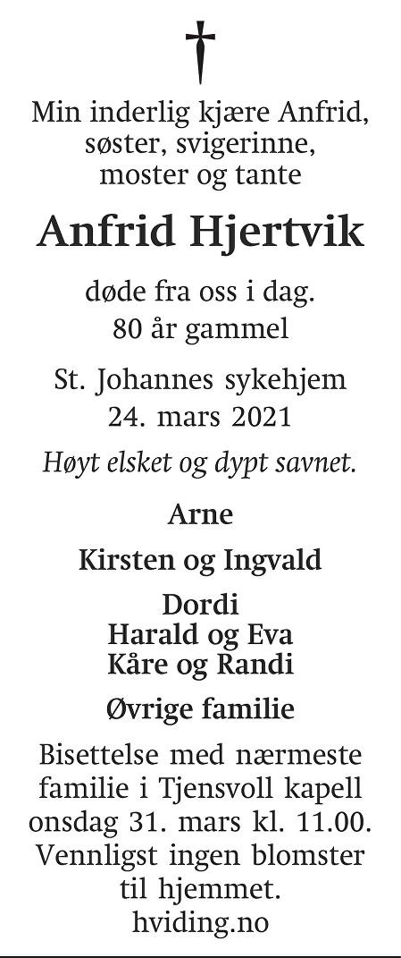 Anfrid Margrethe Hjertvik Dødsannonse