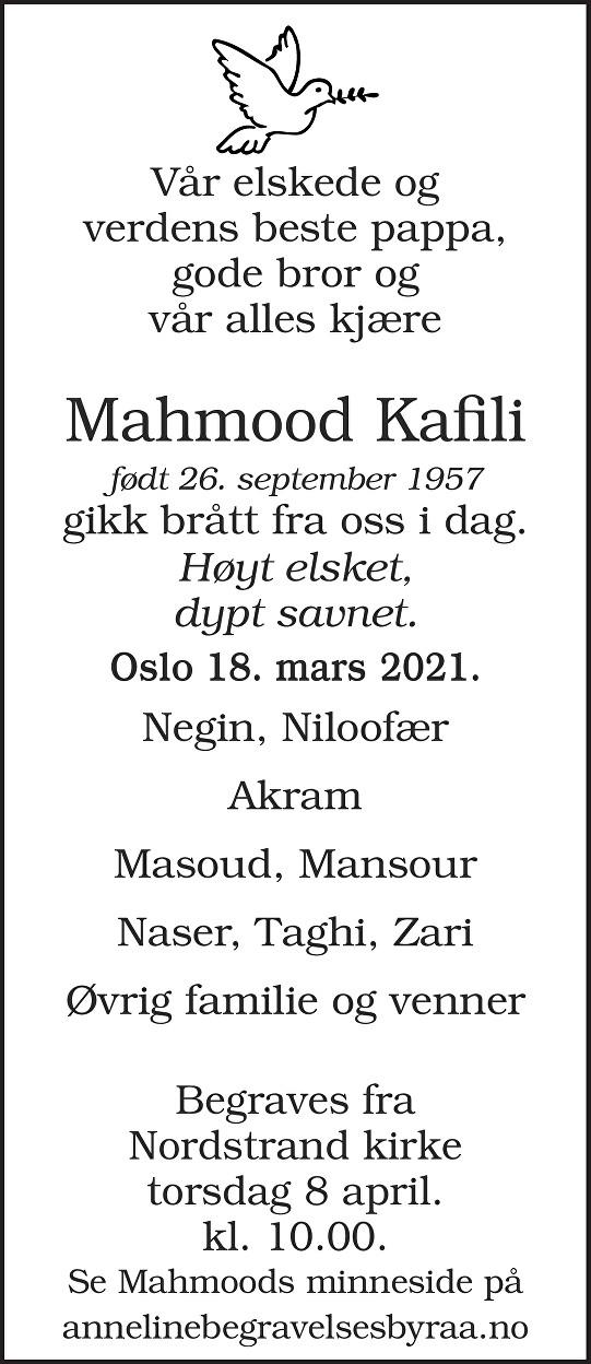 Mahmood Kafili Dødsannonse