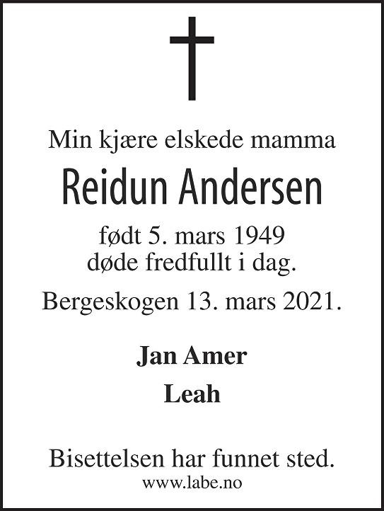 Andersen Reidun Dødsannonse