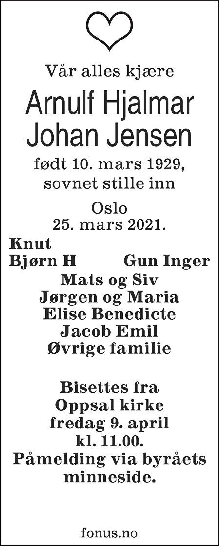 Arnulf Hjalmar Johan Jensen Dødsannonse