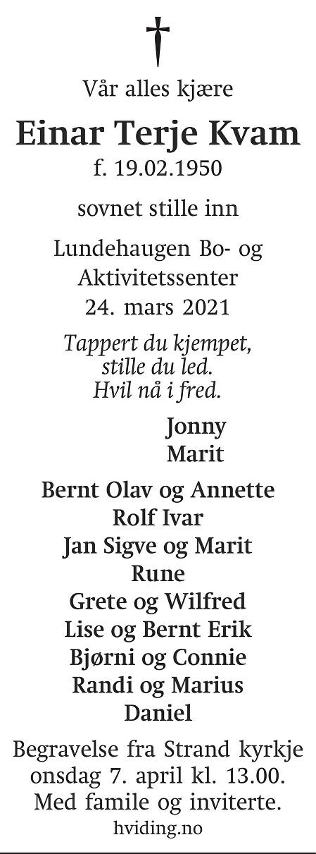 Einar Terje Kvam Dødsannonse