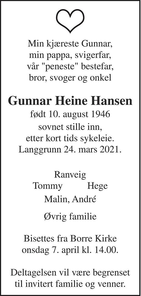 Gunnar Heine Hansen Dødsannonse