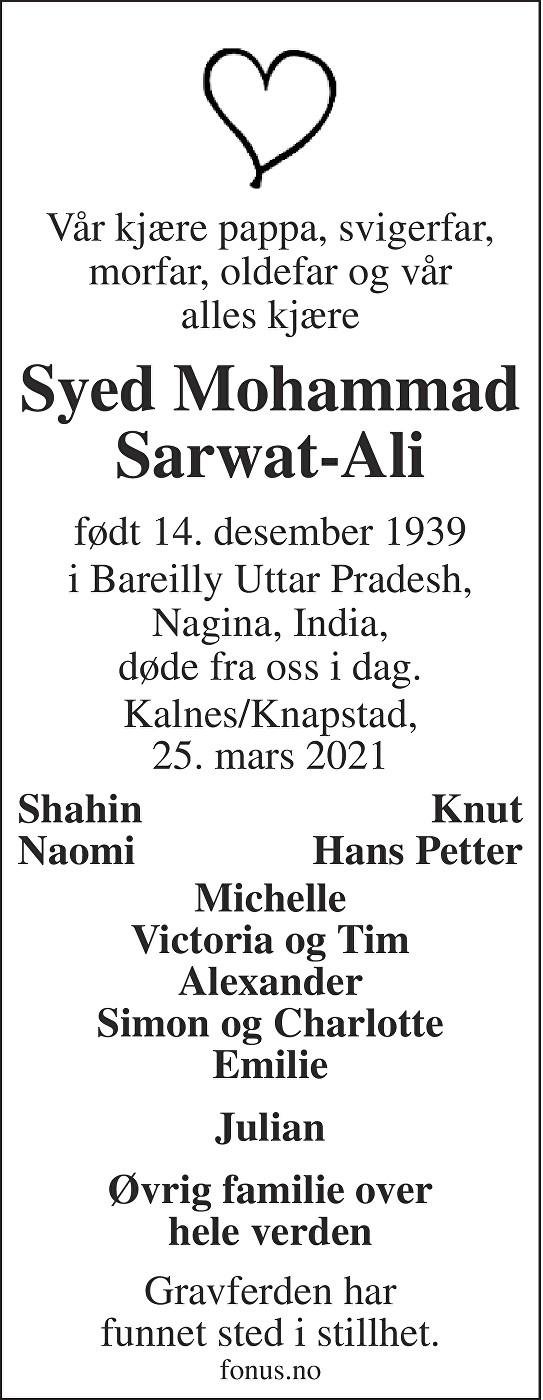 Syed Mohammad Sarwat-Ali Dødsannonse