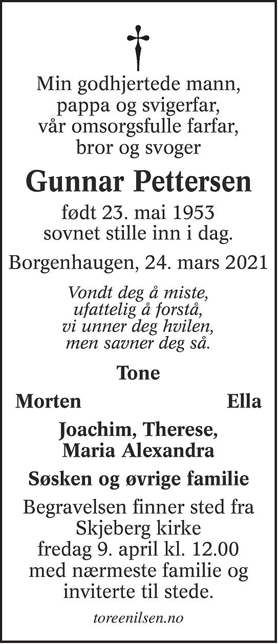 Gunnar Pettersen Dødsannonse