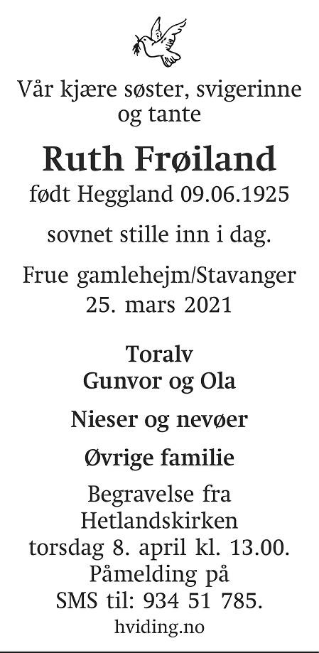 Ruth Frøiland Dødsannonse