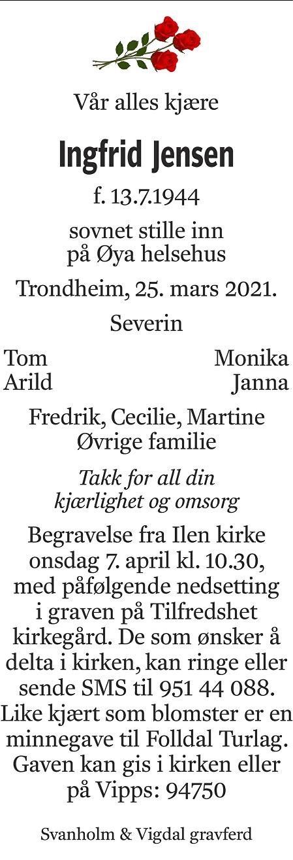 Ingfrid Olaug Jensen Dødsannonse