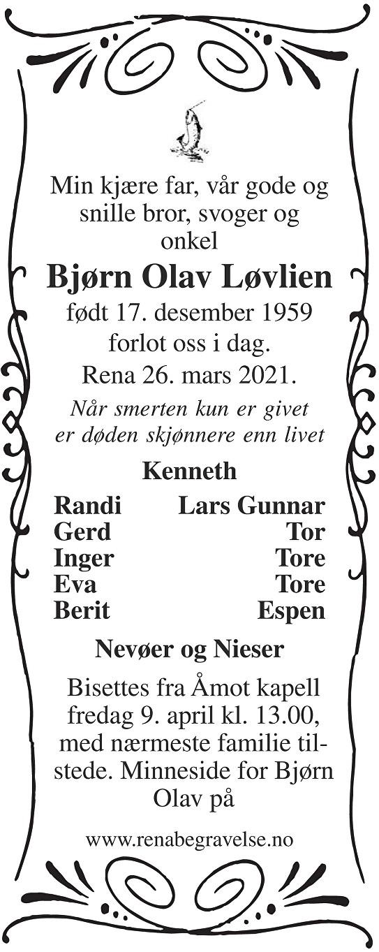Bjørn Olav Løvlien Dødsannonse