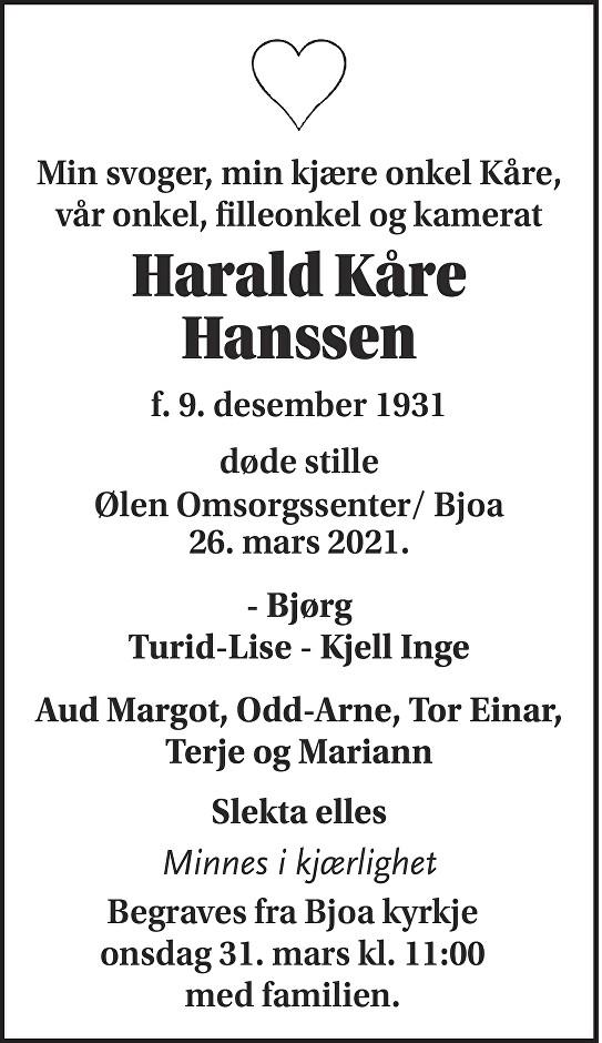 Harald Kåre Hanssen Dødsannonse