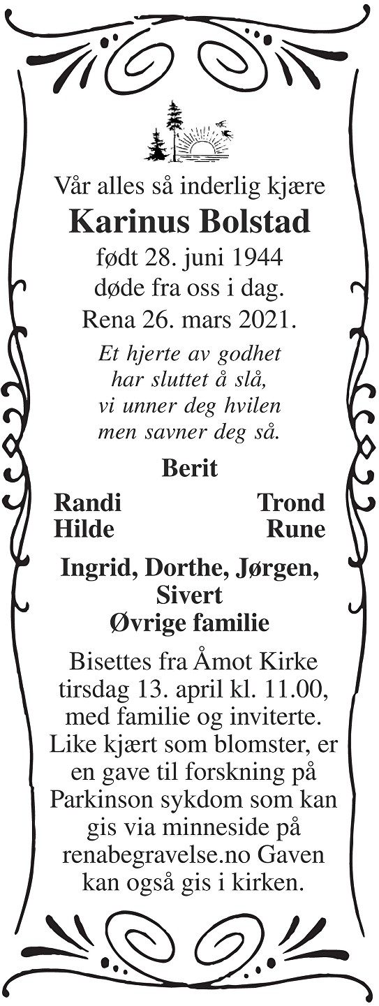 Karinus Bolstad Dødsannonse