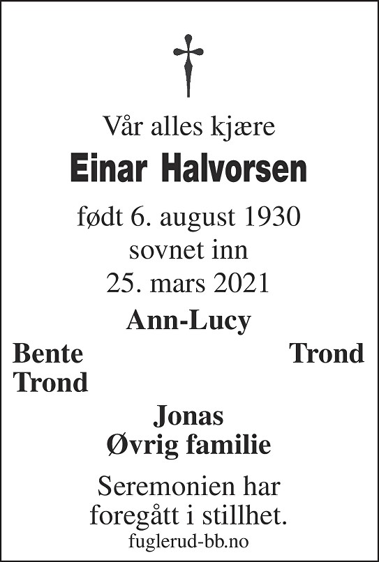 Einar Halvorsen Dødsannonse