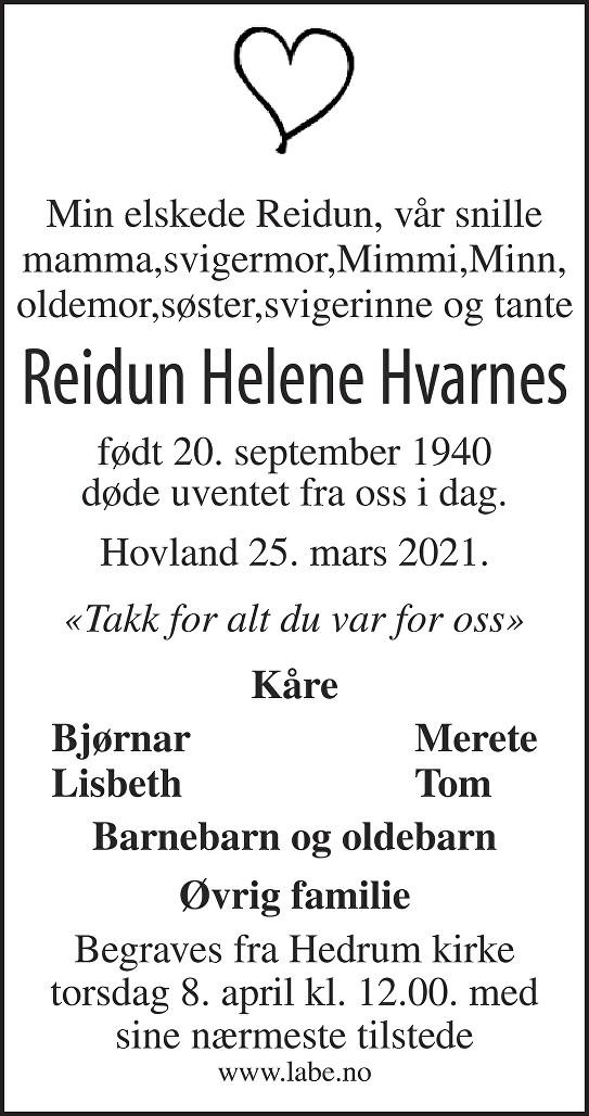 Reidun Helene Hvarnes Dødsannonse