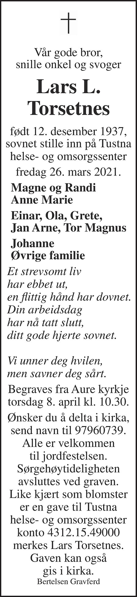 Lars L. Torsetnes Dødsannonse