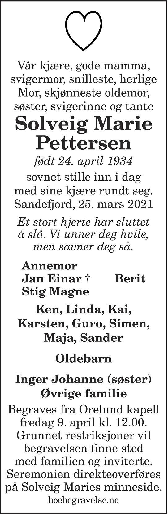 Solveig Marie Pettersen Dødsannonse