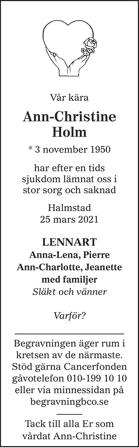 Ann-Christine Holm Death notice