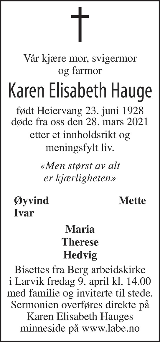 Karen Elisabeth Hauge Dødsannonse