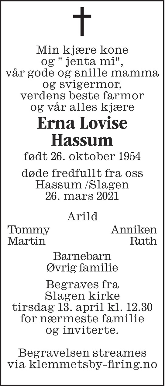 Erna Lovise Hassum Dødsannonse