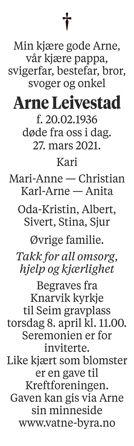 Arne Leivestad Dødsannonse