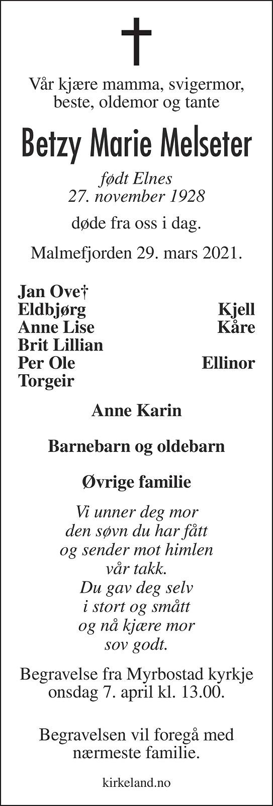 Betzy Marie Melseter Dødsannonse