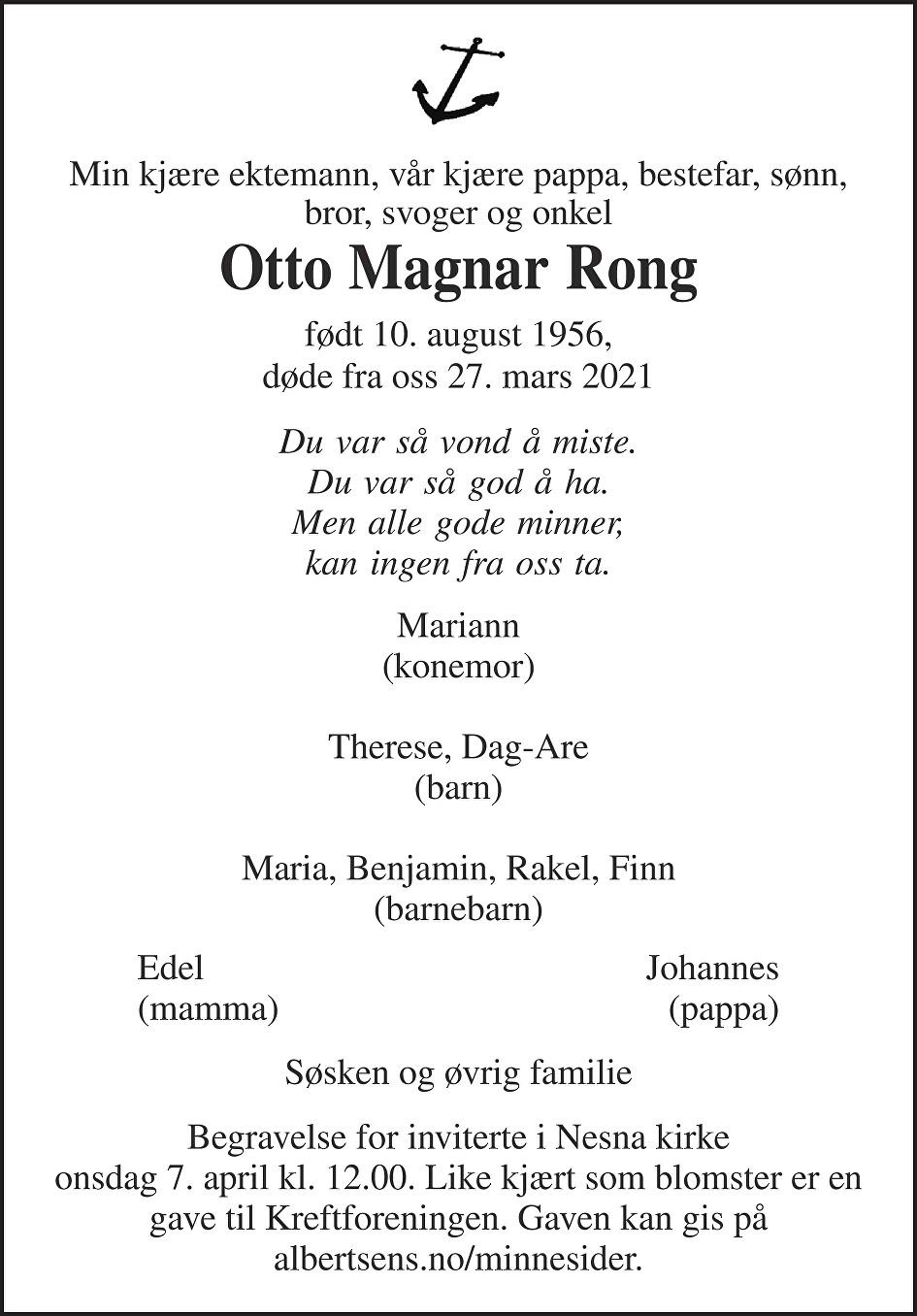 Otto Magnar Rong Dødsannonse