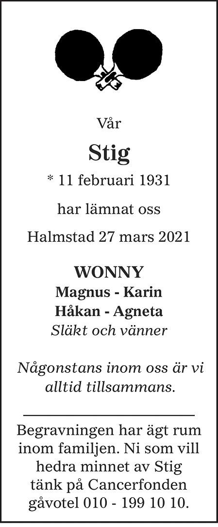 Stig Johansson Death notice