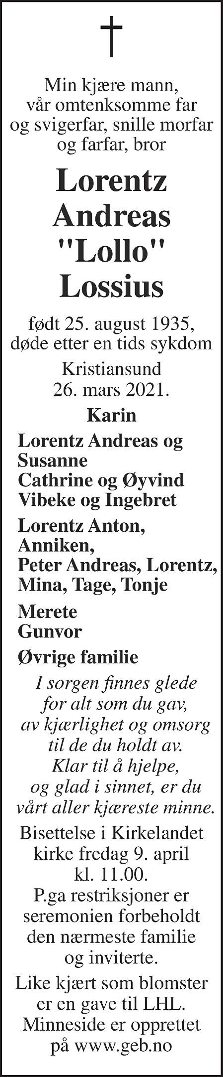 Lorentz Andreas Lossius Dødsannonse