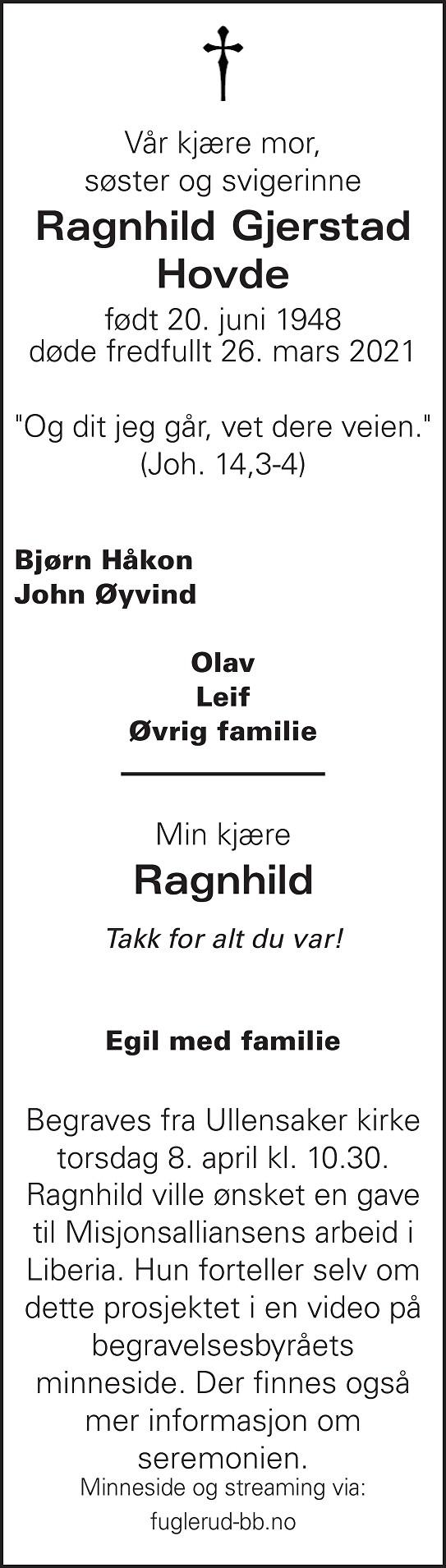Ragnhild Marie Gjerstad Hovde Dødsannonse