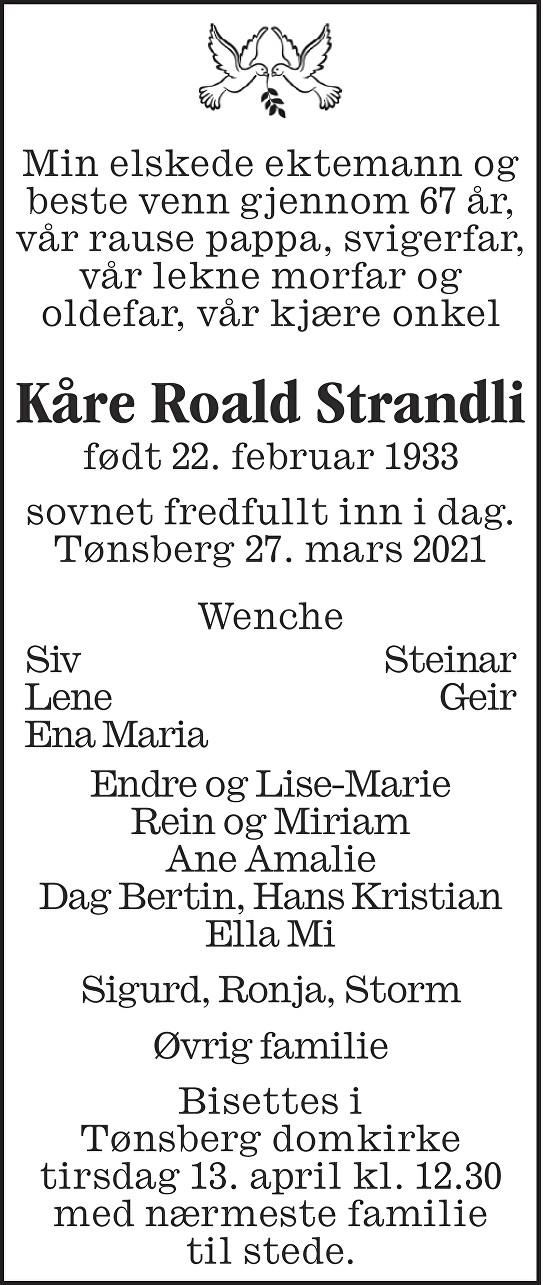 Kåre Roald Strandli Dødsannonse