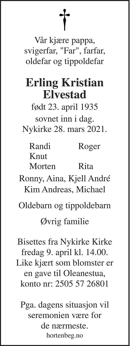 Erling Kristian Elvestad Dødsannonse