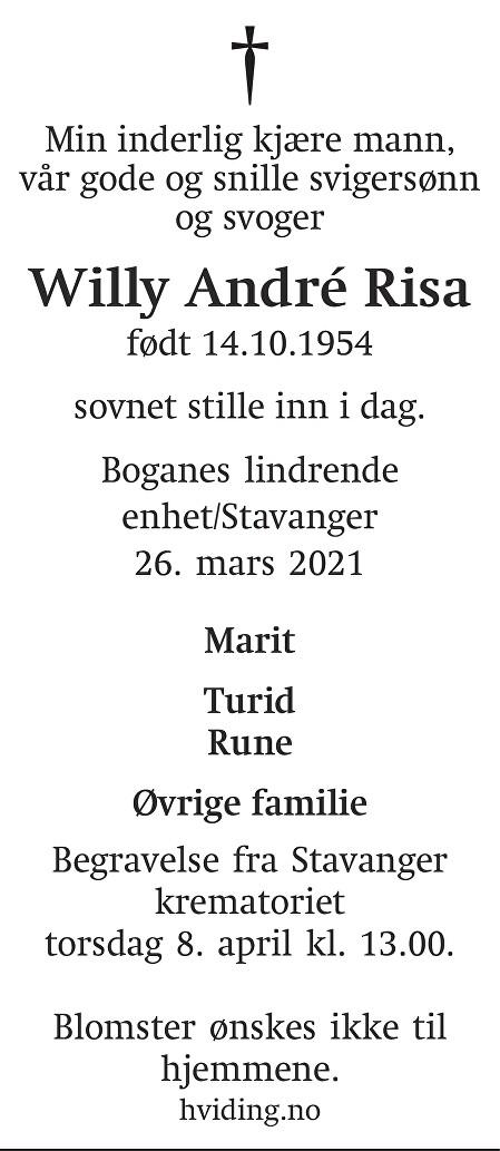 Willy André Risa Dødsannonse