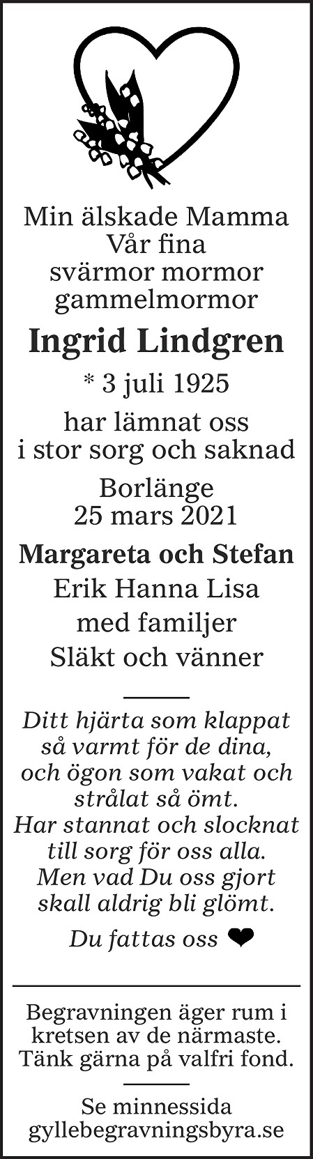 Ingrid Lindgren Death notice