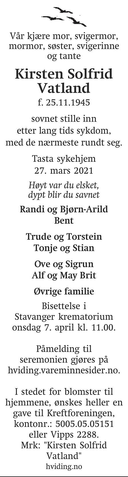 Kirsten Solfrid Vatland Dødsannonse
