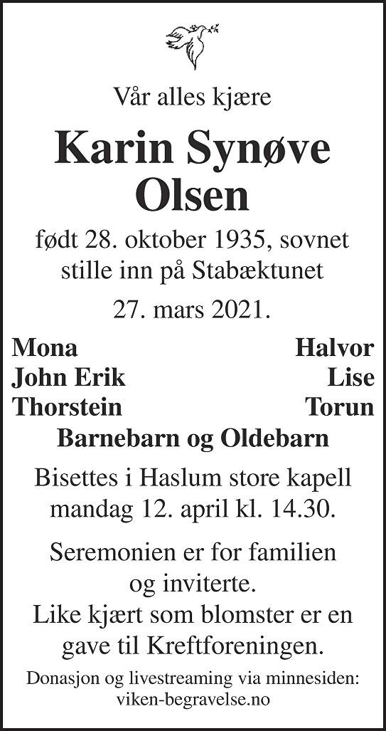 Karin Synøve Olsen Dødsannonse