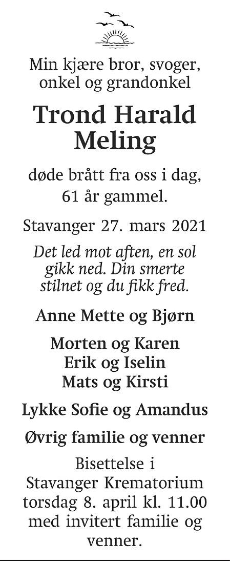 Trond Harald Meling Dødsannonse