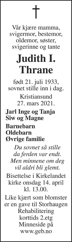 Judith Inger Thrane Dødsannonse