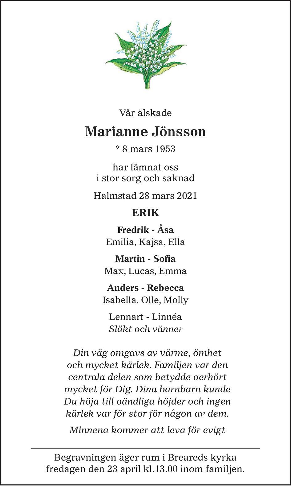 Marianne Jönsson Death notice