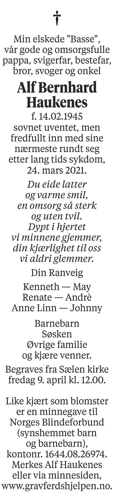 Alf Bernhard Haukenes Dødsannonse