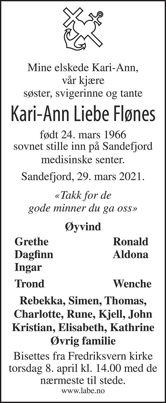 Kari-Ann Liebe Flønes Dødsannonse