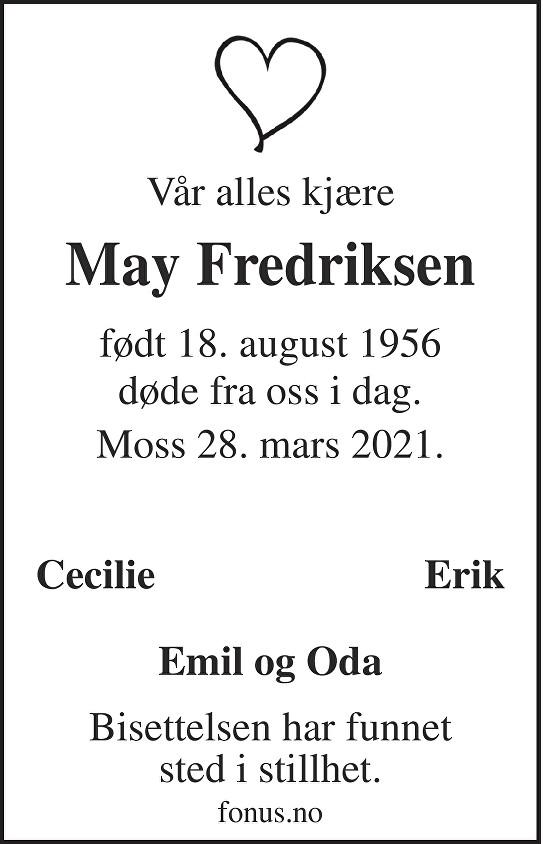 May Fredriksen Dødsannonse