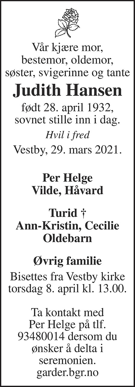 Judith Hansine Marie Hansen Dødsannonse