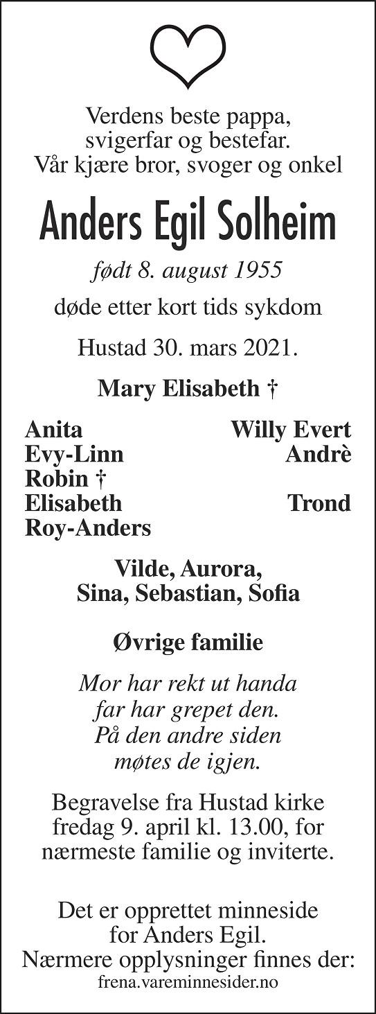 Anders Egil Solheim  Dødsannonse