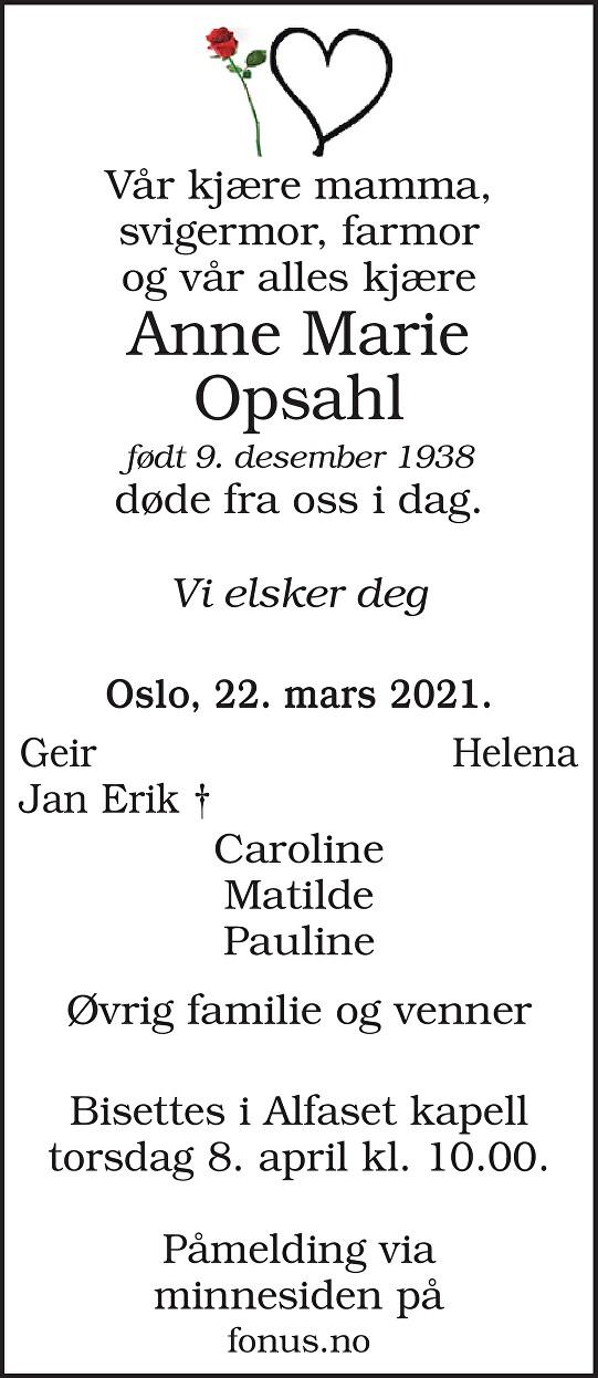Anne Marie Opsahl Dødsannonse