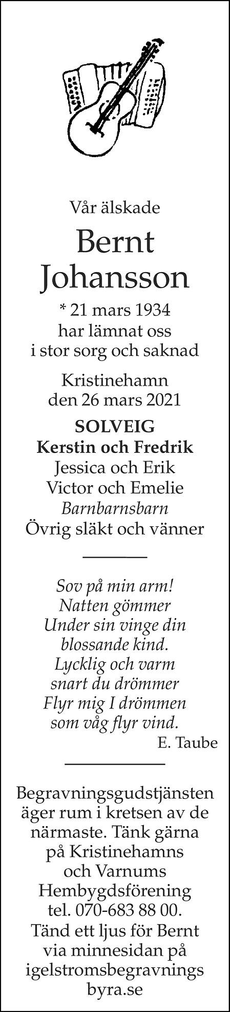 Bernt Johansson Death notice