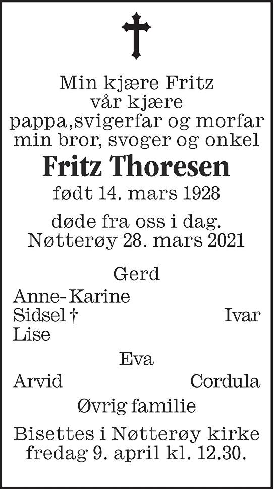 Fritz Thoresen Dødsannonse