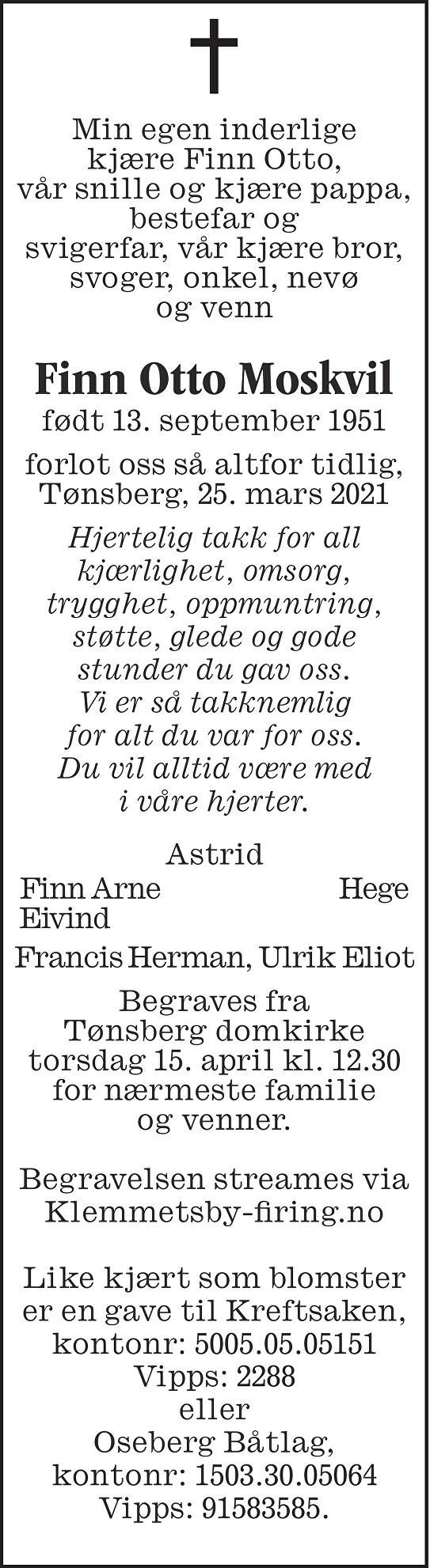 Finn Otto Moskvil Dødsannonse