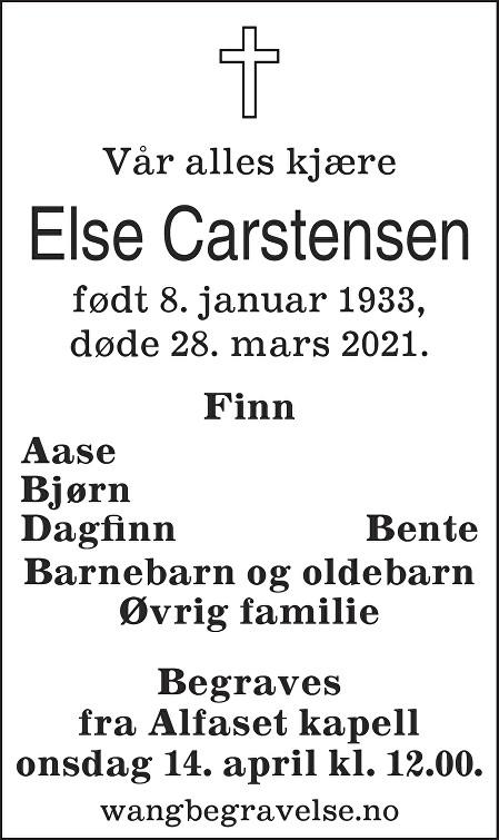 Else Synnøve Carstensen Dødsannonse