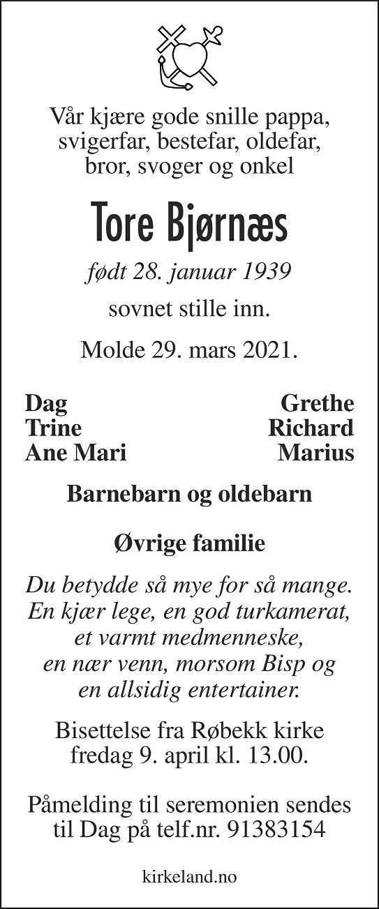 Tore Bjørnæs Dødsannonse