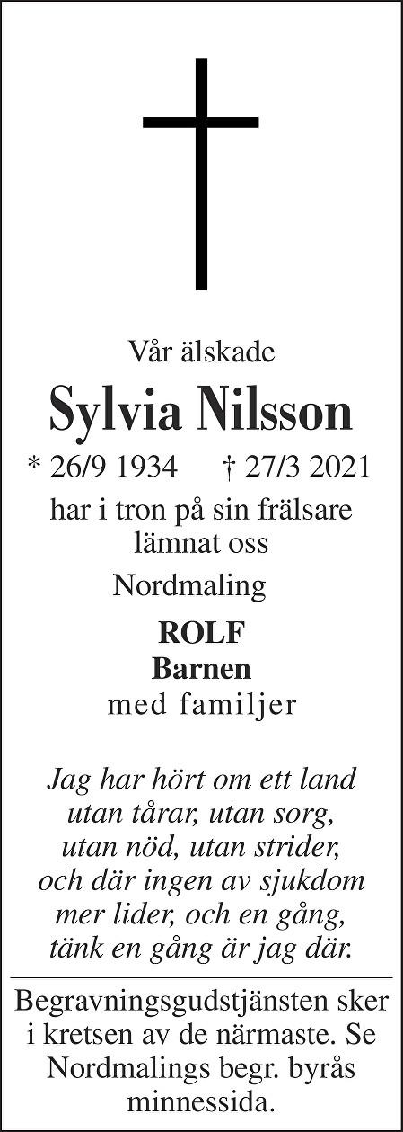Sylvia Nilsson Death notice