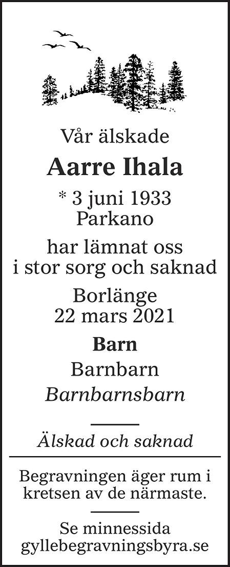 Aarre Ihala Death notice