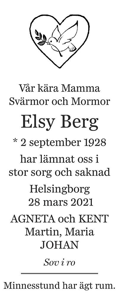 Elsy Berg Death notice