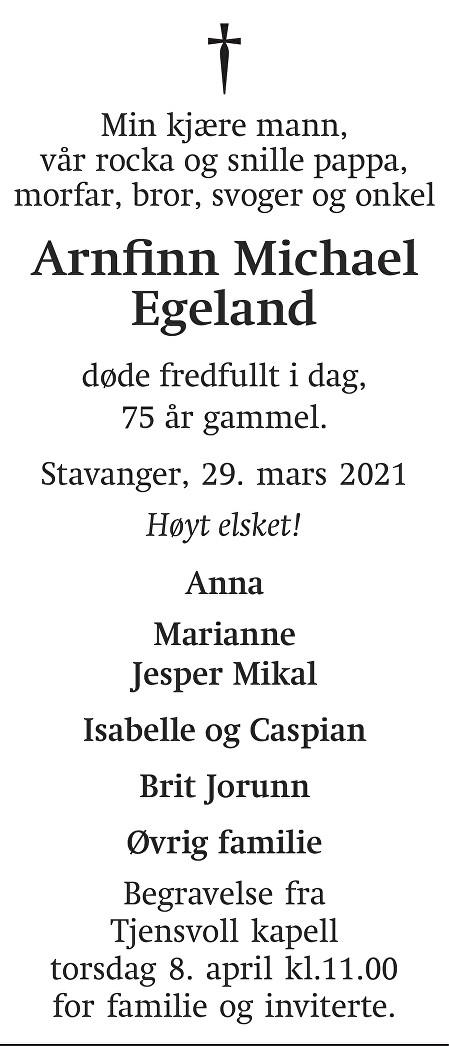 Arnfinn Michael Egeland Dødsannonse
